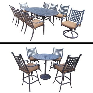 Set with 5 Pc Bar Set, 9 Pc Dining Set and Sunbrella Cushions