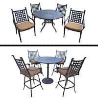 5 Pc Bar Set and 5 Pc Dining Set with Sunbrella Cushions