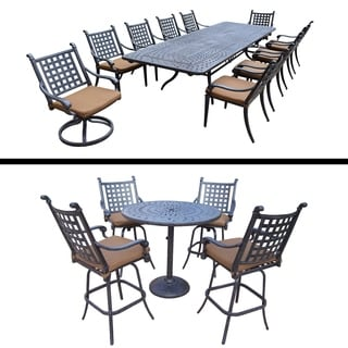 Plymouth Premier Set with 5 Pc Bar Set, 11 Pc Dining Set with Extendable Table and Sunbrella Cushion