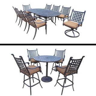 Plymouth Premier Set with 9 Pc Dining Set with 6 Chairs, 2 Swivel Rockers and 5 Pc Bar Set and Sunbr