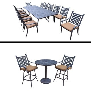 13 Pc Dining Set with Extendable Table and 3 Pc Bar Set and Cushions