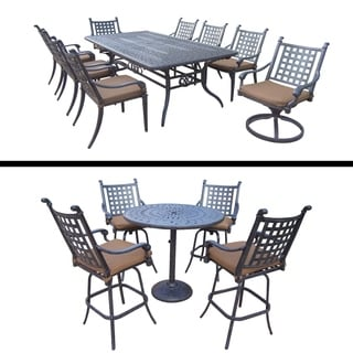 Plymouth Premier Set with 5 Pc Bar Set with 4 Swivel Bar Stools, 9 Pc Dining Set with Extendable Table and Sunbrella Cushions