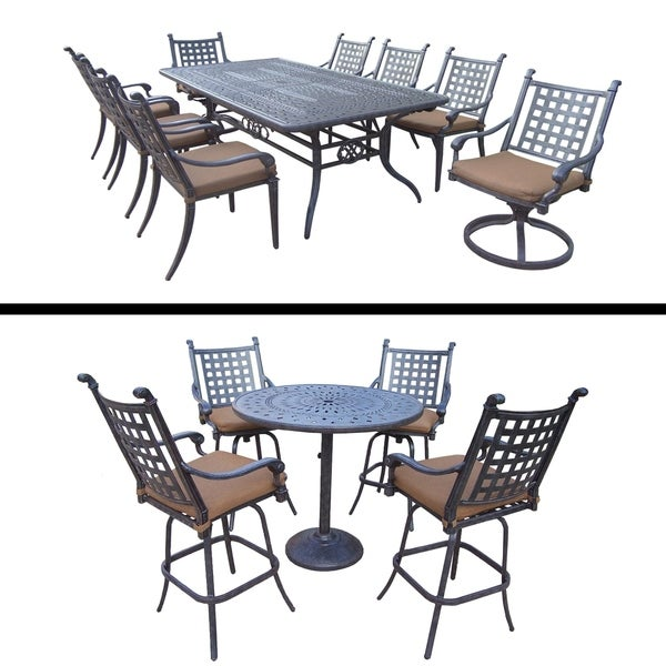 5 Pc Bar Set and 9 Pc Dining Set with Extendable Table