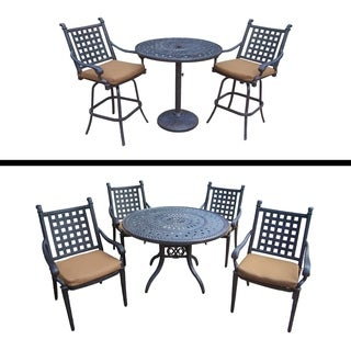 Plymouth Premier Set with 5 Pc Dining Set with 4 Stackable Chairs and 3 Pc Bar Set with 2 Bar Stools and Sunbrella Cushions