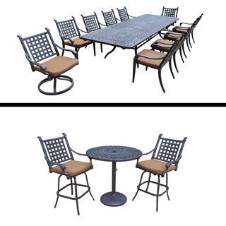 Plymouth Premier Set with 11 Pc Dining Set with Extendable Table and 3 Pc Bar Set with Sunbrella Cus