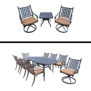 9 Pc Dining Set and 3 Pc Swivel Rocker Chat Set and Sunbrella Cushions