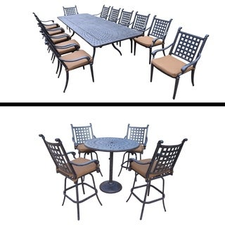 13 Pc Dining Set with Extendable Table and 5 Pc Bar Set and Cushions