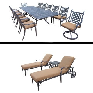 Extendable Table, 10 Chairs, 2 Swivel Rockers and 3 Pc Lounge Set