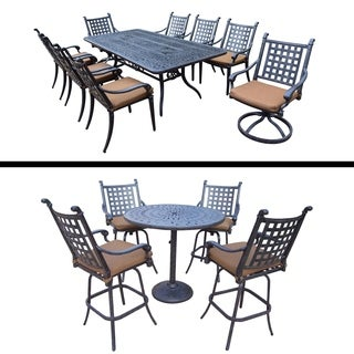 Plymouth Premier Set with 5 Pc Bar Set with 4 Swivel Bar Stools, 9 Pc Dining Set with Rectangular Table and Sunbrella Cushions