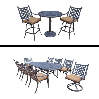 9 Pc Dining Set with 6 Chairs, 2 Swivel Rockers and 3 Pc Bar Set