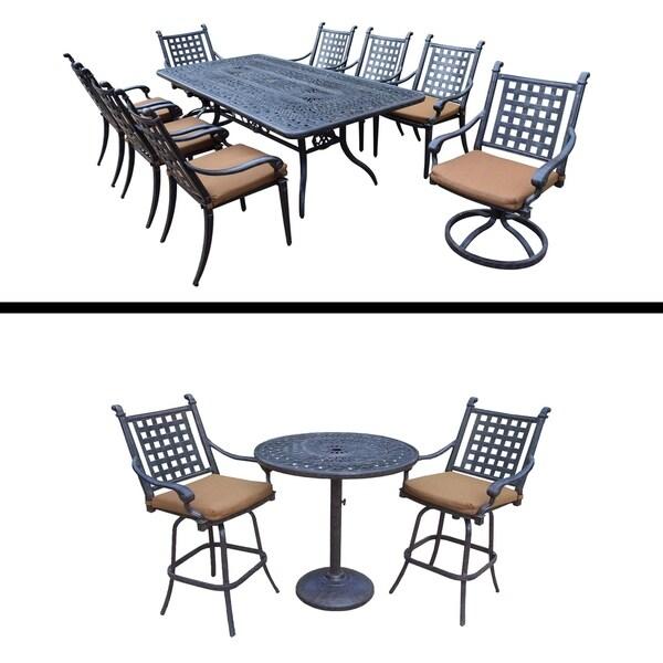 3 Pc Bar Set and 9 Pc Rectangular Dining Set and Sunbrella Cushions