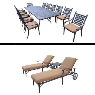 Plymouth Premier Set with 13 Pc Dining Set with Extendable Table, 3 Pc Lounge Set and Sunbrella Cush