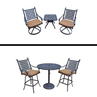 Plymouth Set with 3 Pc Bar Set, 2 Swivel Bar Stools and 3 Pc Chat Set with 2 Swivel Rockers, Side Table, and Sunbrella Cushions