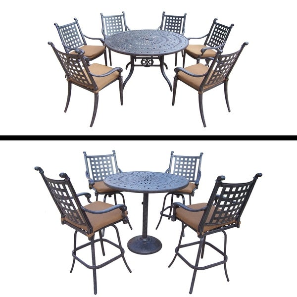 5 Pc Round Bar Set and 9 Pc Dining set and Sunbrella Cushions.