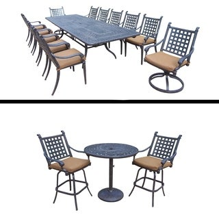 Plymouth Premier Set with 13 Pc Dining Set with Extendable Table, 3 Pc Bar Set and Sunbrella Cushion