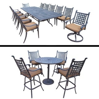 Rectangular Dining Set with Extendable Table and 5 Pc Round Bar Set