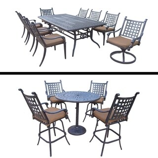 5 Pc Bar Set with 4 Swivel Bar Stools and 9 Pc Dining Set with Extendable Table, 6 Chairs, 2 Swivel