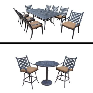 3 Pc Bar Set and 9 Pc Dining Set and Sunbrella Cushions