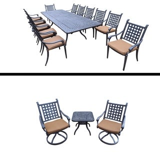Plymouth Premier Set with 13 Pc Dining Set with Extendable Table, 3 Pc Swivel Rocker Chat Set and Su