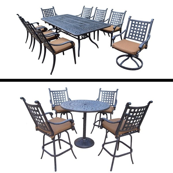 5 Pc Bar Set and 9 Pc Dining Set with 6 Chairs, 2 Swivel Rockers