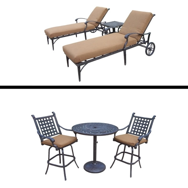 3 Pc Bar Set and 3 Pc Chaise Lounge Set and Sunbrella Cushions