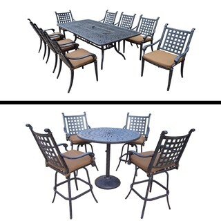 5 Pc Bar Set, 4 Swivel Bar Stools and 9 Pc Dining Set with 8 Chairs