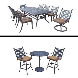 3 Pc Bar Set and 9 Pc Dining Set with Extendable Table and Cushions
