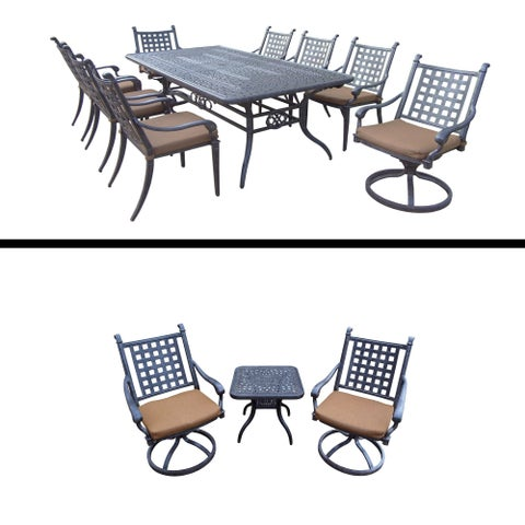 Dining Set with Table, 6 Chairs, 2 Swivel Rockers and 3 Pc Chat Set