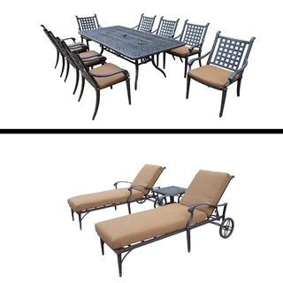 9 Pc Rectangular Dining Table and 3 Pc Chaise Lounge Set and Cushions.
