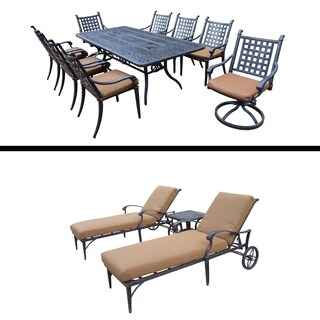 9 Pc Rectangular Dining Set and 3 Pc Chaise Lounge Set with Side Table