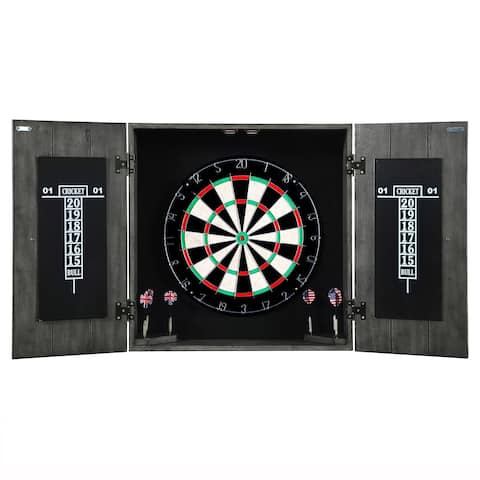 Drifter Solid Wood Dartboard Cabinet - Reclaimed Pine with Distressed Timberwood Finish, Sisal Fiber for Steel Tip Darts
