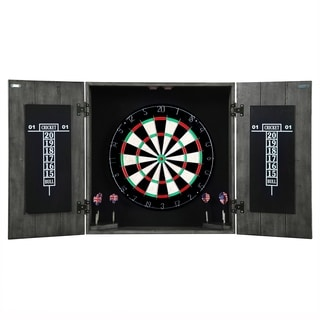 Drifter Solid Wood Dartboard & Cabinet Set - White