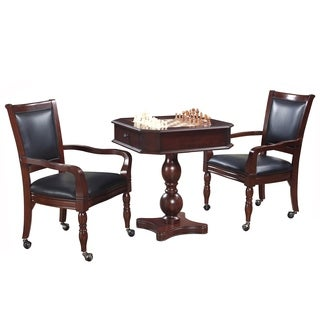 Fortress Chess, Checkers U0026 Backgammon Pedestal Game Table U0026 Chairs Set    Mahogany