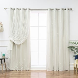Aurora Home Star Cut Out and Tulle Mix & Match Curtain Panels (Set of 4)