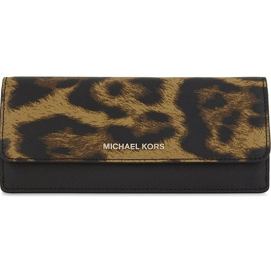 d060be6a2c4c Shop Michael Kors Jet Set Travel Leopard Saffiano Leather - Flat Wallet -  Butterscotch - 32F7GF6F2Y-226 - Free Shipping Today - Overstock - 17909877