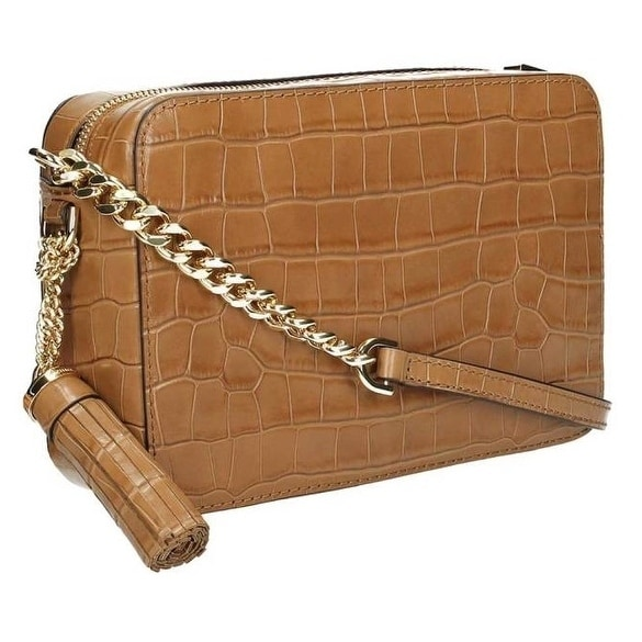 c6a5107c6a75 Shop Michael Kors Ginny Embossed-Leather - Crossbody - Acorn -  32F7GGNM2E-532 - Free Shipping Today - Overstock - 17909908