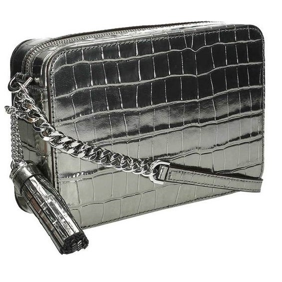 3b93f4533e2f Shop Michael Kors Ginny Metallic Embossed-Leather - Crossbody - Gunmetal -  32F7MGNM2K-041 - Free Shipping Today - Overstock - 17909914
