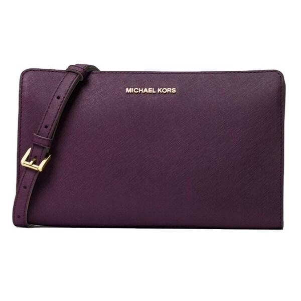 shop michael kors jet set large leather clutch damson rh overstock com