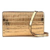 a78160f66586 Michael Kors Jet Set Travel Metallic Embossed-Leather - Crossbody Clutch -  Gold - 32F7MF5C3K
