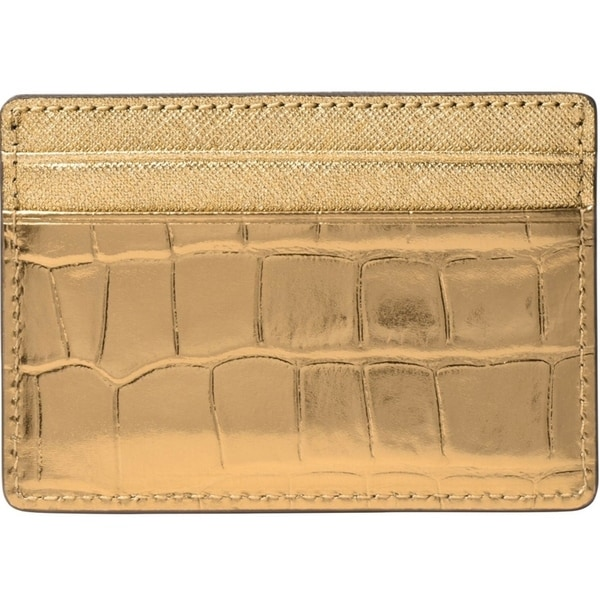 c1544007ae7f Shop Michael Kors Jet Set Travel Metallic Embossed-Leather - Card Case -  Gold - 32F7MF6D0E-710 - Free Shipping Today - Overstock - 17909934