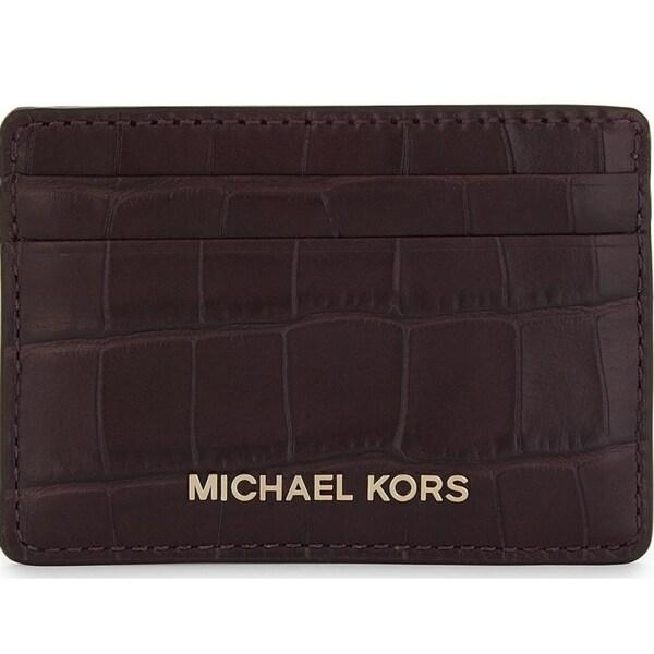 9e2eda8d10b2 Michael Kors Money Pieces Crocodile-effect Leather - Card Holder - Damson -  32F7GF6D0E-