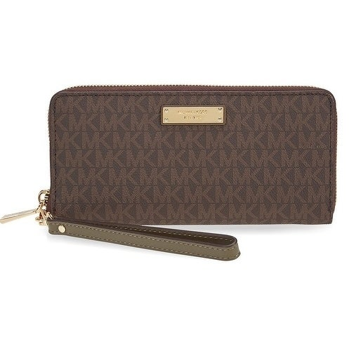 ba2aedc31434 Shop Michael Kors Jet Set Travel Logo Continental - Wristlet - Brown/Olive  - 32S7GTTE9B-247 - Free Shipping Today - Overstock - 17909939