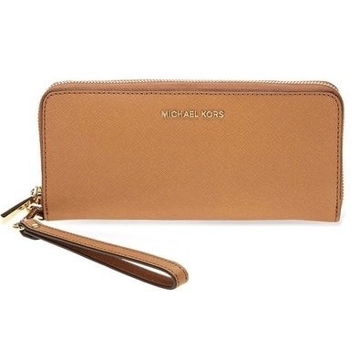 93bc768f02c6 Shop Michael Kors Jet Set Travel Leather Continental - Wristlet - Acorn -  32S5GTVE9L-532 - Free Shipping Today - Overstock - 17909955