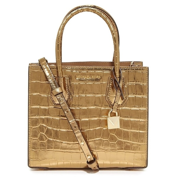 d8db434144d701 Shop Michael Kors Mercer Metallic Embossed-Leather - Crossbody - Gold -  30F7MM9M6K-710 - Free Shipping Today - Overstock - 17909961