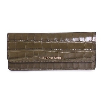 530c9e15f045 Shop Michael Kors Money Pieces Crocodile-embossed Leather - Flat Wallet -  Olive - 32F7GF6F2E-333 - Free Shipping Today - Overstock - 17910024