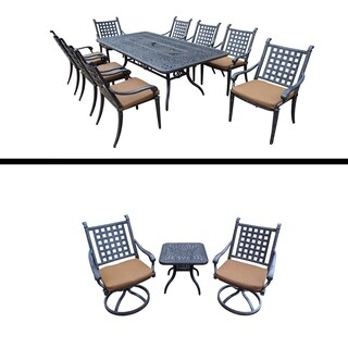 9 Pc Dining Set, 8 Chairs and 3 Pc Chat Set and Cushions.