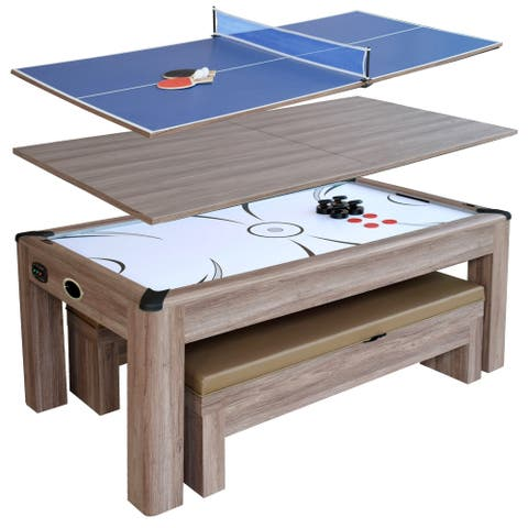 Driftwood 7-ft Air Hockey Table Combo Set w/Benches - Woodgrain
