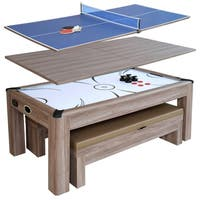 Driftwood 7-ft Combo Game Table Set w/Benches