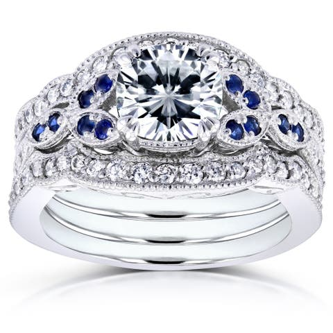 Annello by Kobelli 14k White Gold 1 3/4ct TGW Moissaanite (DEF) with Diamond and Sapphire 3-piece Bridal Set