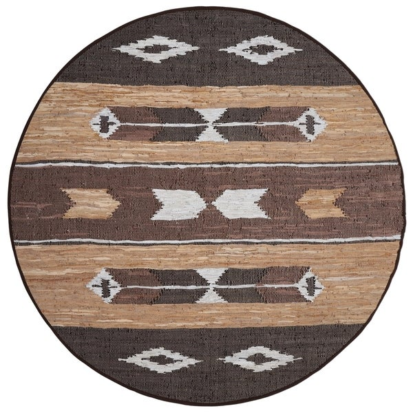 Matador Brown Leather Chindi Round Rug (8' x 8')
